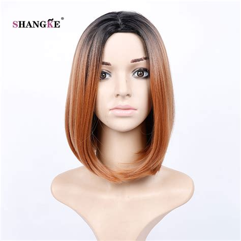 Hair Extension Ombre Gradient Wig Hair Clip Light Purple Pink shangke hair 14 bob wig light brown ombre synthetic wigs for black