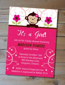 Baby shower invitation it s a girl pink mod monkey printable baby http