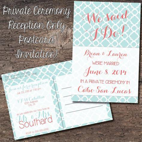 4x6 Wedding Invitations by 4x6 Postcard Reception Only Invitation Eloped Reception