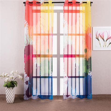 Sheer Kitchen Window Curtains 1 Colorful Graffiti Sheer Curtains For Living Room Modern Window Curtain For Bedroom