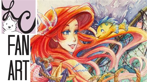 ariel painting free ariel from the mermaid fan watercolor painting