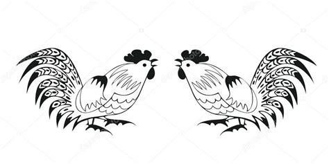 pelea de gallo s vector gallos de pelea en un fondo blanco vector de stock