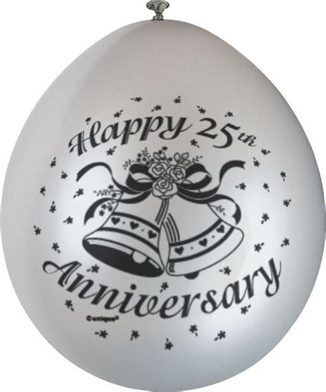 10 x Happy 25th Anniversary Balloons Silver Wedding Party