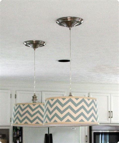 Drum Lights For Kitchen Tutorial How To Convert Can Recessed Lights To Pendants With Fabric Covered Drum Shades