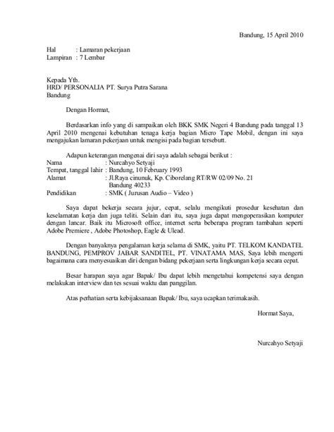 format surat lamaran kerja inisiatif sendiri contoh surat lamaran pekerjaan pt sps