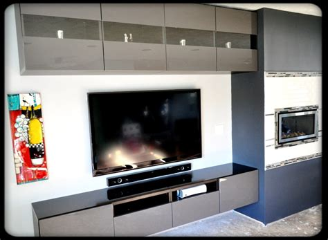 besta floating media center the living room with custom fireplace and ikea cabinetry
