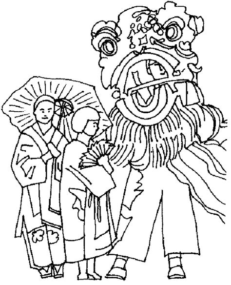 chinese new year lion dance coloring page chinese new year coloring pages