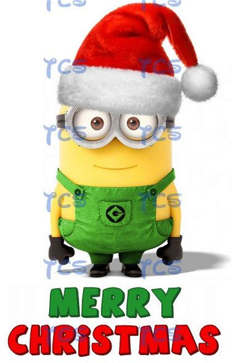minion despicable  merry christmas universal santa hat cards iron  transfer diy printable