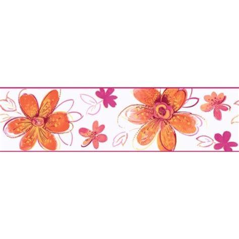 candice olson orange pink floral wall border ckb