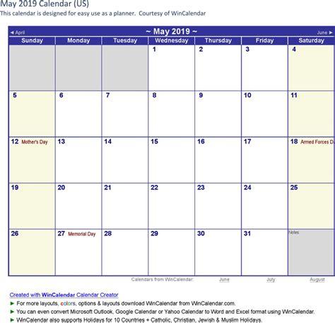 Calendar 2019 May May 2019 Calendar 3 For Free Formxls