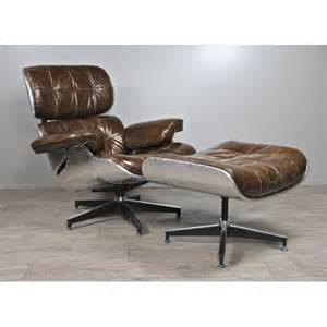 fauteuil aviateur et repose pieds en cuir marron vintage