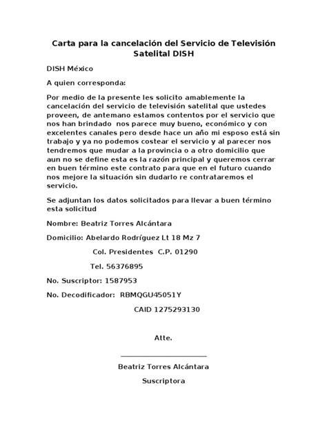 carta de cancelar un servicio carta para la cancelaci 243 n servicio de televisi 243 n satelital dish