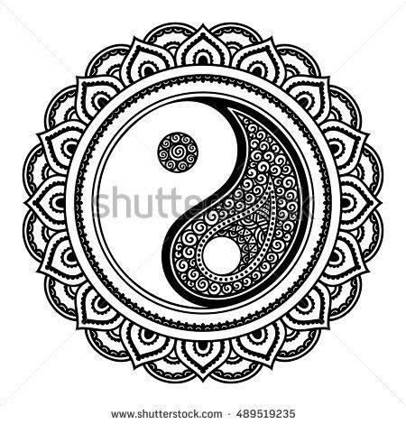 circular pattern form mandala yinyang decorative stock