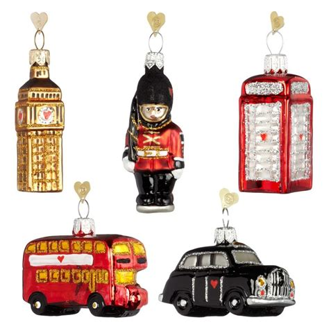 bombki little london glass hanging decorations set of 5