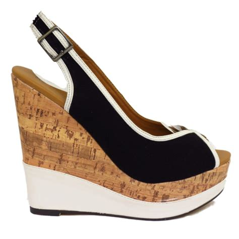 navy black or coral peep toe platform cork wedge