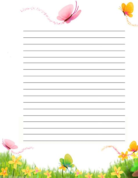 printable free lined writing paper butterflies free printable stationery for kids regular
