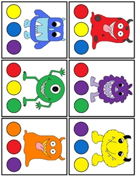 monsters colors print and laminate the cards set 1 use a