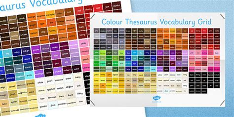 colors synonym colour thesaurus vocabulary grid colour thesaurus