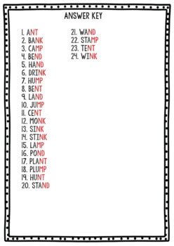 Final Consonant Blends N And M Clip Cards Mp Nk Nd