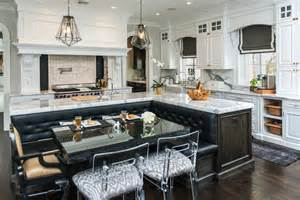 Kitchen Island With Built In Table by Kitchen With U Shaped Built In Baquette Transitional