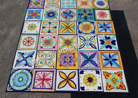 vasi vietresi tavolo da giardino con patchwork di vietri ceramiche di