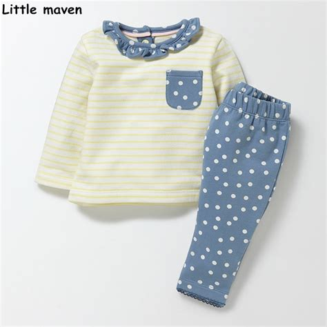 Lil Dot Favor Sleeve Stripe maven children s clothing sets 2017 new autumn cotton brand sleeve striped