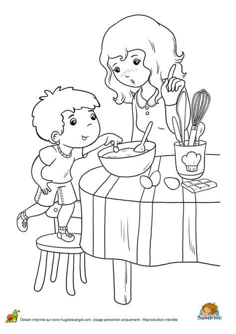 Coloriage repas famille c sur Hugolescargot.com