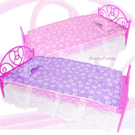 barbie doll beds free shipping two set doll accessories pink purple mini
