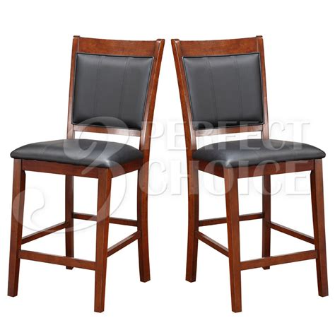 set   counter height high chair  acacia wood black faux leather seat  ebay