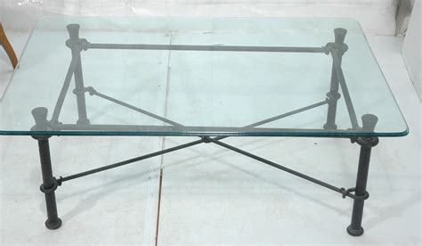 Black Wrought Iron Coffee Table With Glass Top