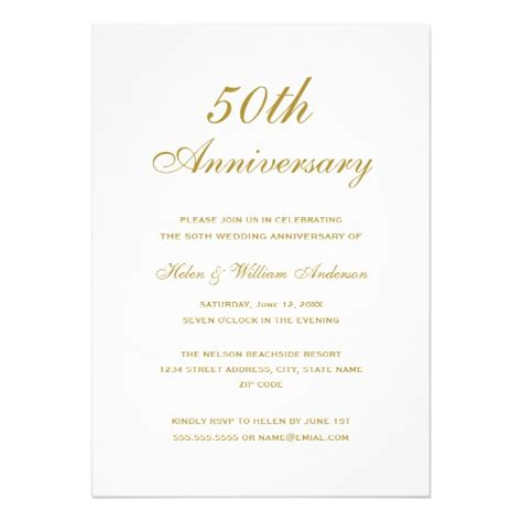 50th anniversary invitations gold 50th wedding anniversary invitations zazzle