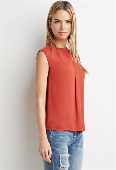 Blouse Crepe 1 forever 21 pleated crepe blouse in brown lyst
