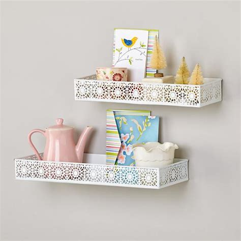 White Metal Wall Shelf Chantilly Wall Shelves White Set Of 2 The Land Of Nod