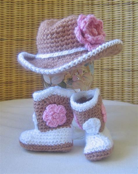 knitted baby cowboy hat pattern tiny set crochet cowboy hat and boots with pink