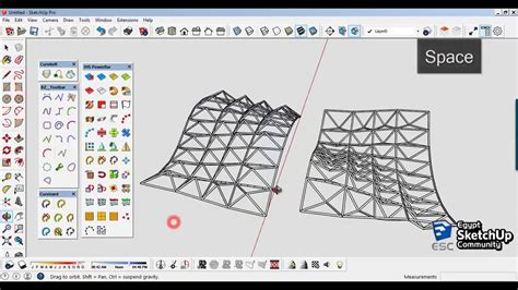 sketchup layout yellow triangle space truss structure curved surfaces sketchup modeling