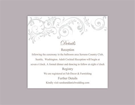 wedding card text template diy wedding details card template editable text word file