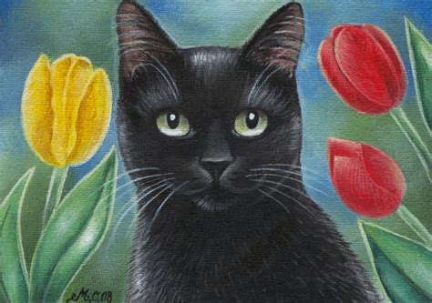 cat painting cat paintings black cat and tulips