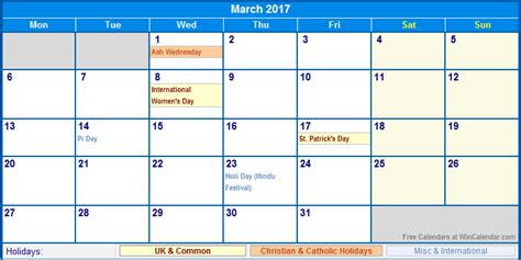 convention uk calendar march 2017 calendar with holidays weekly calendar template