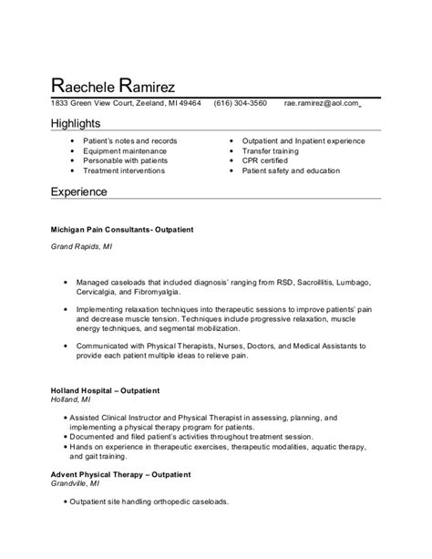 Pta Resume Exles by Physical Therapist Cover Letter Therapist Resume Exles Physical Therapist Assistant
