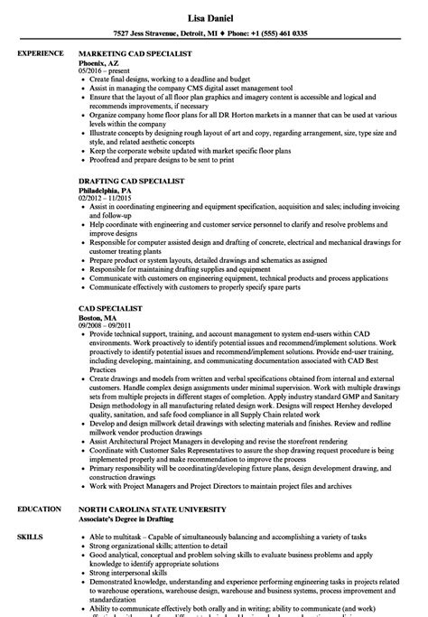 Cad Specialist Cover Letter by Cad Operator Sle Resume Test Engineer Sle Resume