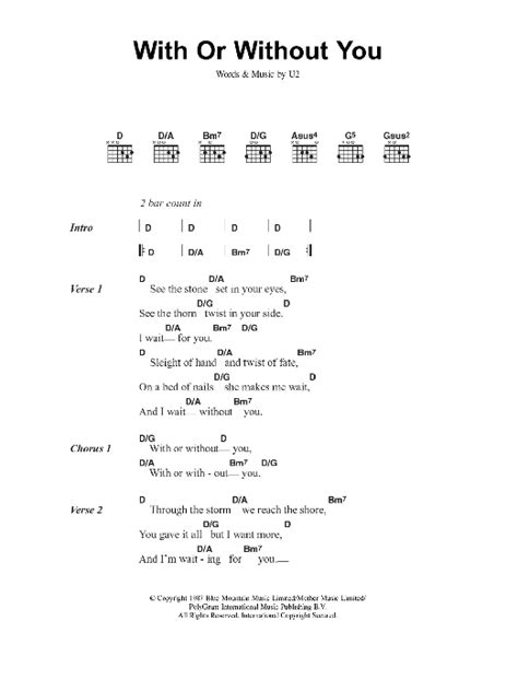 Or Lyrics With Or Without You By U2 Guitar Chords Lyrics Guitar Instructor
