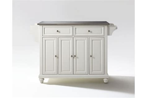 buy cambridge stainless steel top kitchen island in white cambridge stainless steel top kitchen island in white
