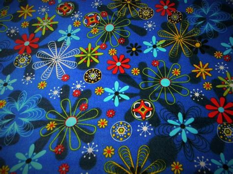 astro flower cotton quilt fabric flannel astro flowers green blue
