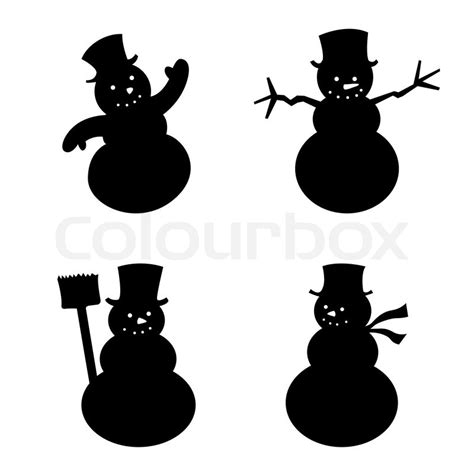 vector illustration of four snowman in silhouette stock