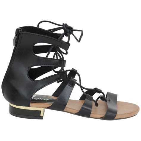 gladiator strappy flat sandals new womens gladiator flat leather look strappy