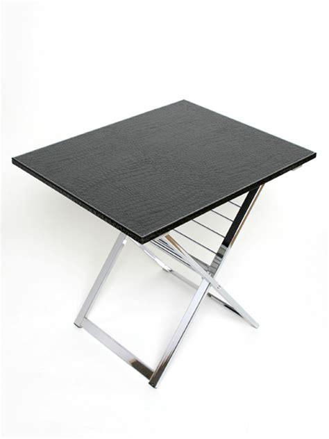 gestell tisch tabletttisch beistelltisch kroko leder couchtisch tablett