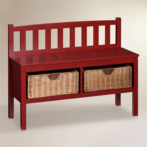 red storage bench red wood oakdale storage bench world market