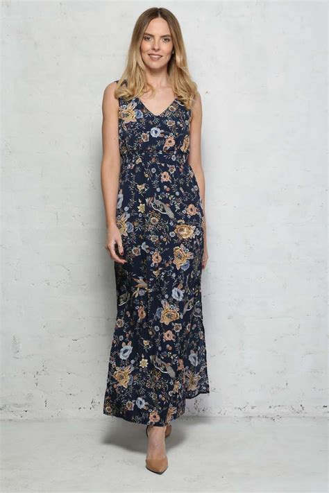 Maxi Flowery blue floral maxi dress navy flower print dress