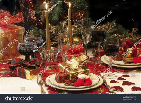 setting for tree with lights traditional table setting tree presents stock