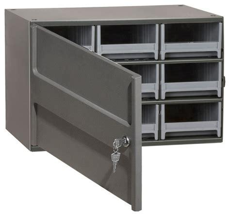 Modern Storage Cabinet Locking Storage Cabinet 9 Drawers Gray Modern Storage Cabinets By Akro Mils